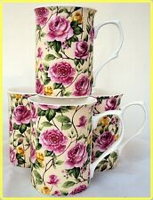 Garden Roses Mugs Set of Four Fine Bone China Roses Mugs Hand Decorated in UK