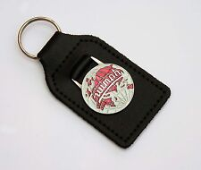 Triumph Leather & Enamel / Chrome Globe / World Emblem Key Fob, TR2, TR3 TR4 etc