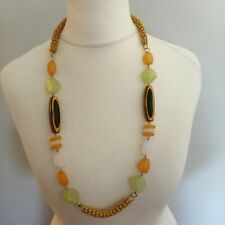 Bohemian Yellow Green Plastic Beaded Chain Statement Necklace Costume