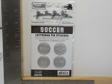 STAMPING STATION SOCCER SILVER LETTERMAN PIN DIMENSIONAL STICKERS A11673