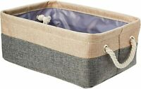 AmazonBasics Two Tone Linen Storage Basket  with Handles Small 14.3x7.6x10.6 in