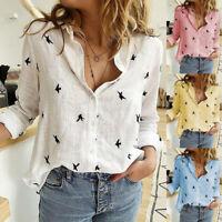 Womens Fashion Cotton Linen Blouses Birds Printed Long Sleeve Casual Shirt Tops
