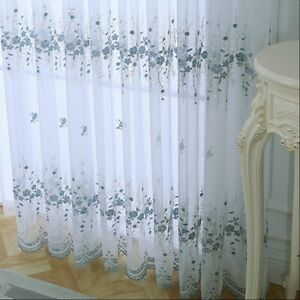 1X Embroidery Floral Net Curtain Panel Tulle Drape Home Room Window Decor Eyelet