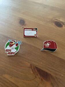 3 Cincinnati Red Heads Pins Joey Votto Autographs Red Heads Cap Mascot Gapper