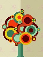 Painting Illustration Abstract Colour Disc Tree Graphic Canvas Art Print