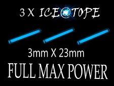 Betalight isotopes 3 x bleu glace ICE@TOPE pêche à la carpe 3mm x 23mm full max power