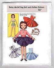 "Betsy McCall Rag Doll Sewing Pattern & Wardrobe vintage 16"" # 2097"