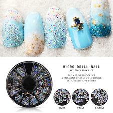 Mixed Size Glitter Rhinestone 3D Nail Art Tips DIY Manicure Decor Wheel Creative