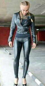 Black Skin Tight Leather Look Leggings * s10-12 * GOTH * DOMINATRIX * BIKER