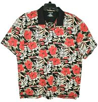 IZOD Golf Mens XXL Hawaiian Floral Short Sleeve Polo Shirt Red Black 100% Cotton