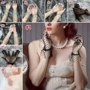 Women's Ladies Retro Lace Gloves Polka Dot Short Long Dress Wedding Party Gloves