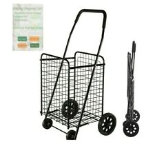 Folding Shopping Cart Jumbo Basket Grocery Laundry Travel w/ Swivel Wheels