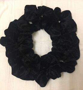 New Pack Of 12 Plain BLACK Velvet Scrunchie Bobble Hair Tie