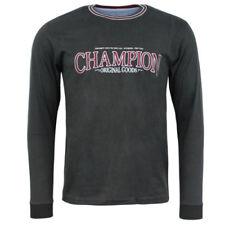 Magliette da uomo a manica lunga grigi Champion