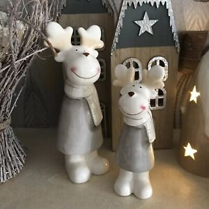 Set Of Two Ceramic Christmas Standing Reindeers Ornaments With Scarfs