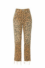 Amo Women's Jeans Brown Size 24X25 Cropped Stretch Leopard Printed $275- #071
