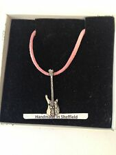 Bass Guitar PP-M05 Pewter Pendant on a PINK CORD Necklace