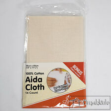 SEW EASY - AIDA CLOTH (14 COUNT) 100 COTTON 36 X 45CM FOR CROSS STITCH - BONUS