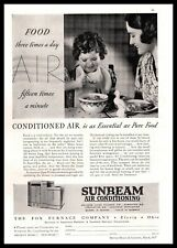 1937 Sunbeam Air Conditioning As Essential As Pure Food Curly Hair Girl Print Ad