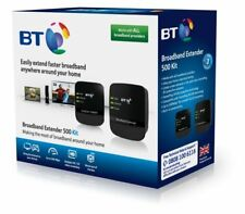 BT Broadband Extender 500 Kit Powerline Adapter Twin Pack Ethernet Cables