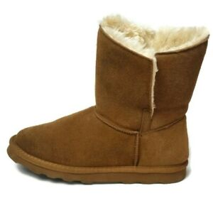 Time and Tru Women's Size 7 Short Brown Suede Leather Fur-Lined Comfort Boots