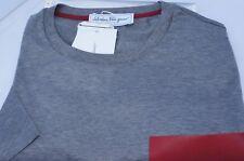 New Salvatore Ferragamo Mens T Shirt Size L Leather Pocket Gray