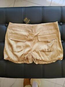 NEW Bebe designlab SILK mini shorts S Small brown gold color