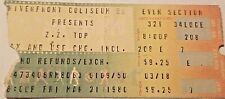 Zz Top 3/21/80 Vintage Classic Rock Concert Ticket Stub Cincinnati Ohio