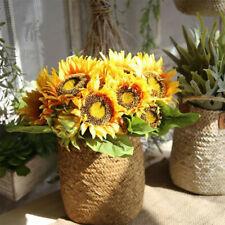 LARGE 7 Heads Artificial Sunflowers Bouquet Posy Floral Flower Home Garden