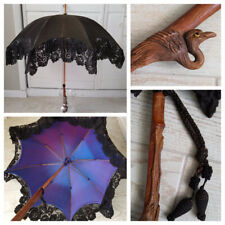 Antique Victorian Parasol Black Mourning Lace Carved Tropical Bird Glass Eyes