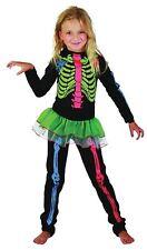 Squelette Fille Multicolore OS (M), Enfants Costume Enfant, Halloween