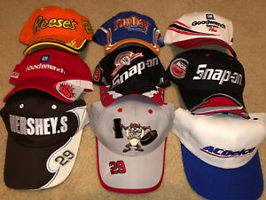 Lot Of 9 Kevin Harvick Hats Snap-On Goodwrench  Hershey's Taz Payday RCR Nascar