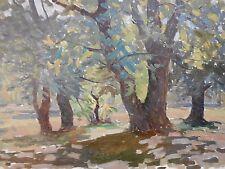 Eastern Europe Ukraine Bulgaria Russia Forest Landscape Oil Paper Board 20th c 2