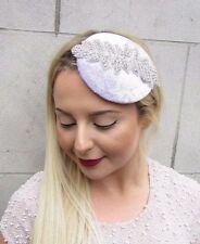Lilac Light Purple Silver Velvet Pillbox Hat Fascinator Hair Vtg Races Clip 2688