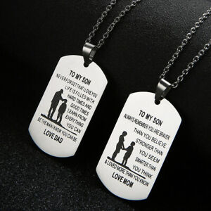TO MY SON/DAUGHTER MOM DAD Stainless Steel Pendant Necklace Gift Dog Tag