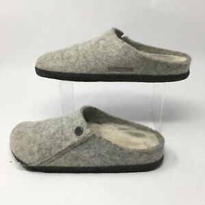 Birkenstock Zermatt Shearling Slip On Clog Slippers Womens 38 Grey Wool Felt