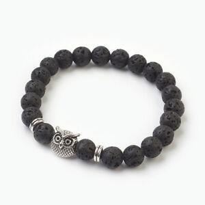Lava Bead Bracelet Ladies Women Men Reiki Heal Chakra Anxiety Stress Owl UK