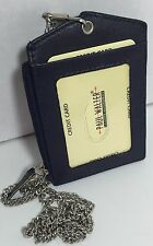 NEW LEATHER ID BADGE HOLDER NAVY ZIPPERED LANYARD WITH NECK CHAIN 3 CARDS SLOT