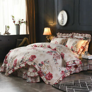 Vintage Style Floral Ruffle Duvet Cover Bed Sheet Soft Bedding Sets Queen 4Pcs