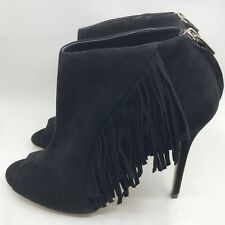 Karen Millen Black Suede Peep Toe Side Fringe Bootie Ankle Boot Heels 10.5 11 41