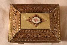 "Vintage Gold Metal Navy Velvet Lining Jewelry Case Music Box 6"" X 5.5"" X 8"""