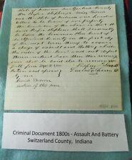 1800'S BILL OF SALE SLAVE DOCUMENT SWITZERLAND COUNTY, INDIANA