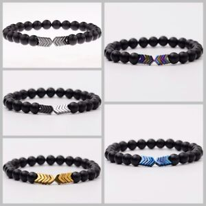 8MM Natural Stone Sacred Arrow Couple Bracelets For Men Women Charm Jewelry Gift