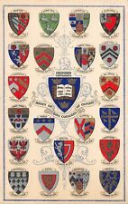 Oxford University~Coats of Arms Colleges~20 Heraldic Shields~Silver~1910 PC  #1