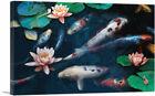 ARTCANVAS Red White Koi Carp Fish Pond Leaves Lotus Flowers Canvas Art Print
