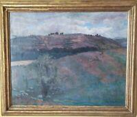 tableau ancien paysage moissons personnages vaches pastorale fenaison 88x108cm