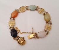9k yellow solid gold multi coloured jade bracelet 9.34g