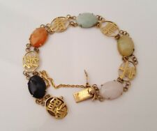 9k yellow solid gold multi coloured jade bracelet 9.34g