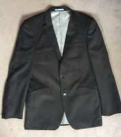 NEXT PURE WOOL BLACK SUIT JACKET WITH FAINT PINSTRIPES & 2 BUTTONS - SIZE 38R