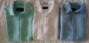 Men's Short Sleeved LINEN SHIRTS Ex M&S Blue Harbour  Size S, M, L, XL XXL